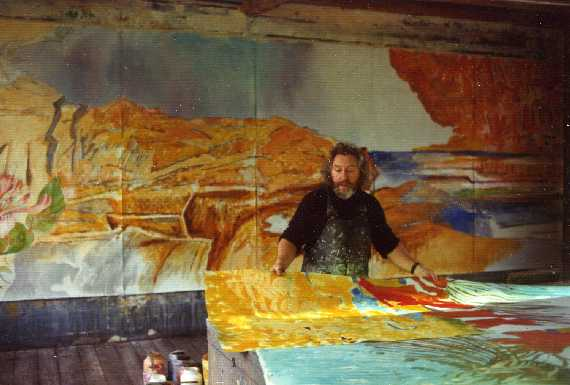 Cliff in the studio at Marstrand, 1974 - detail of a 35m long wall for Torline (now DFDS) vessel Tor Britannia (renamed Prince of Scandinavia 1991, sold to Moby Lines 2003). Original photograph by Thomas Holden.